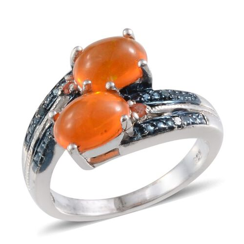 Orange Ethiopian Opal (Ovl), Jalisco Fire Opal and Blue Diamond Crossover Ring in Platinum Overlay Sterling Silver 1.400 Ct.