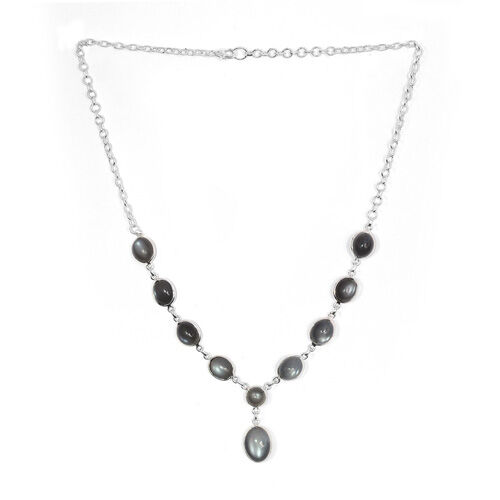 Jewels of India Sri Lankan Titanium Moonstone Necklace (Size 18) in Sterling Silver 39.500 Ct.