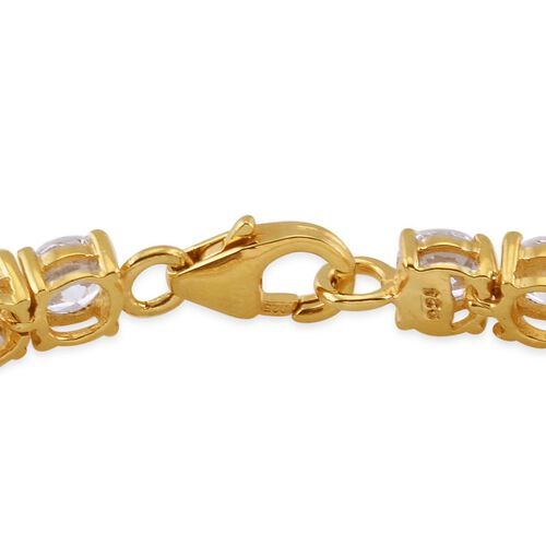 Amits Special Deal - J Francis - 14K Gold Overlay Sterling Silver (Rnd) Bracelet (Size 7.5) Made with SWAROVSKI ZIRCONIA
