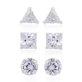 Set of 3 - AAA Simulated Diamond (Rnd, Sqr, Trl) Stud Earrings (with Push Back) in Sterling Silver