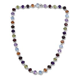 Mozambique Garnet (Ovl), Sky Blue Topaz, Brazilian Smoky Quartz, Rose De France Amethyst, Amethyst, Citrine, Hebei Peridot Necklace (Size 18) in Platinum Overlay Sterling Silver 50.000 Ct.