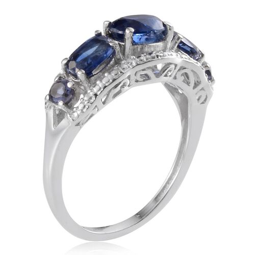 Himalayan Kyanite (Ovl 0.75 Ct), Iolite Ring in Platinum Overlay Sterling Silver 2.000 Ct.
