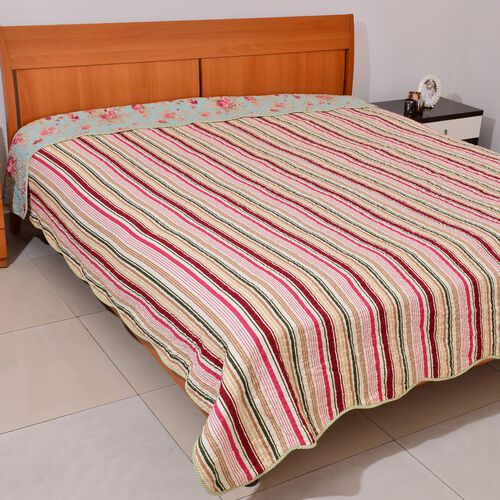 100% Cotton Green, Red and Multi Colour Floral and Stripe Pattern 4 Season Quilt (Size 260x240)