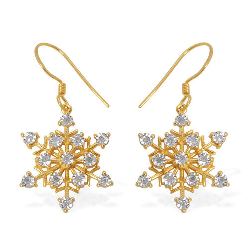 Starburst Diamond 14K Gold Overlay Sterling Silver Earring 0.15 Ct.