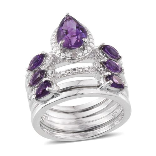 Rhodolite Garnet (Pear 2.25 Ct), Diamond 5 Ring Set in Platinum Overlay Sterling Silver 3.300 Ct.