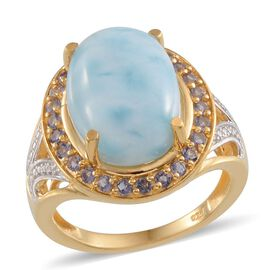 Larimar (Ovl 10.25 Ct), Iolite Ring in 14K Gold Overlay Sterling Silver 10.750 Ct.