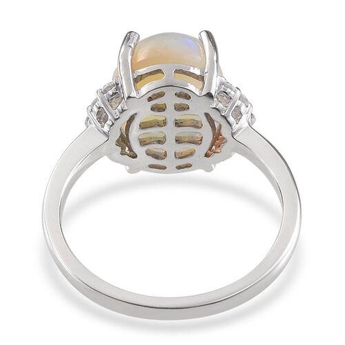 9K W Gold Ethiopian Welo Opal (Ovl 4.00 Ct), Diamond Ring 4.250 Ct.
