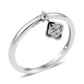 J Francis - Platinum Overlay Sterling Silver Charm Ring Made with SWAROVSKI ZIRCONIA