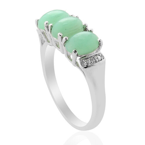 Natural Peruvian Mint Green opal (1.67 Ct) and Diamond Platinum Overlay Sterling Silver Ring  1.690 Ct.