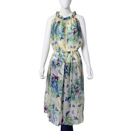 New For Season -Blue, Light Green and Multi Colour Floral and Butterfly Pattern Off White Colour Dress (Free Size)