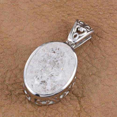 Diamond Crackled Quartz (Ovl) Pendant in Platinum Overlay Sterling Silver 13.000 Ct.