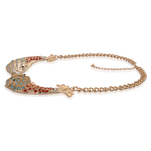 Simulated White Diamond, Red and Multi Colour Austrian Crystal Fish Shape Necklace (Size 20) in Gold Tone