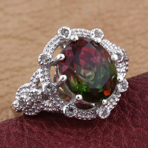 Bi-Color Tourmaline Quartz (Ovl 5.60 Ct), White Topaz Ring in Platinum Overlay Sterling Silver 5.750 Ct.