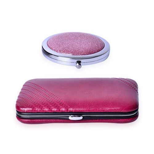 Dark Pink Colour Minicare Kit (6 Pcs) and Pink Colour Compact Mirror in Stainless Steel