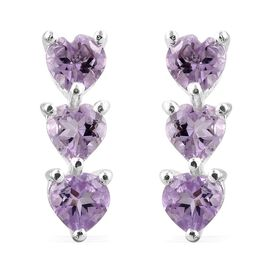 Rose De France Amethyst (Hrt) Earrings (with Push Back) in Sterling Silver 1.250 Ct.