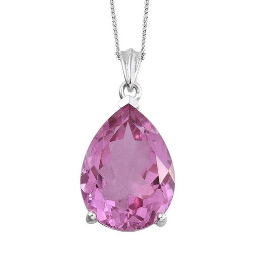 Kunzite Colour Quartz (Pear) Pendant With Chain in Platinum Overlay Sterling Silver 17.250 Ct.