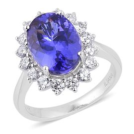 ILIANA 18K W Gold AAA Tanzanite (Ovl 6.00 Ct), Diamond Ring 7.000 Ct.