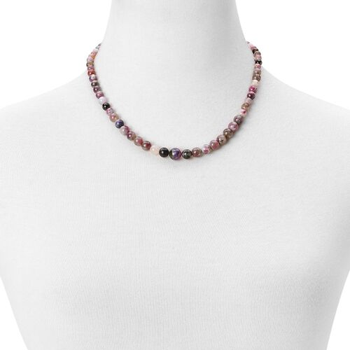Limited Stock - AAA Multi-Tourmaline Necklace (Size 18) in Rhodium Plated Sterling Silver 115.000 Ct.