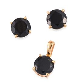 Black Spinel Round 7.75 Carat Solitaire Pendant and Stud Earrings set in Gold Overlay.