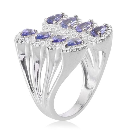 Tanzanite (Pear), Diamond Open Ring in Platinum Overlay Sterling Silver 1.510 Ct.