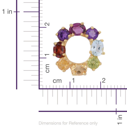 Citrine (Rnd), Hebei Peridot, Sky Blue Topaz, Rhodolite Garnet, Mozambique Garnet and Amethyst Circle of Life Pendant in Yellow Gold Overlay Sterling Silver 2.500 Ct.