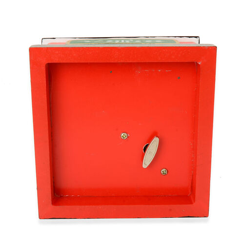 White, Red and Green Colour Moving Miniature Village Music Box with Small Christmas People in Resin