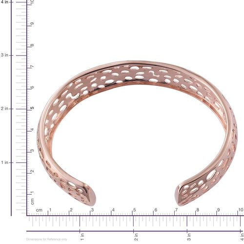 Coral Reef Design Cuff Bangle (Size 7.5) in ION Plated 18K Rose Gold Bond