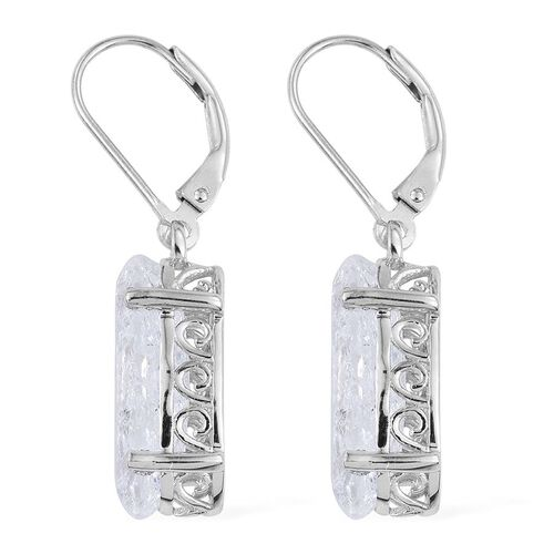 Diamond Crackled Quartz (Ovl) Lever Back Earrings in Platinum Overlay Sterling Silver 10.250 Ct.