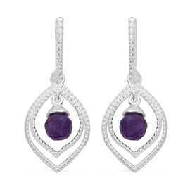 Amethyst Drop Earrings (with Push Back) in Sterling Silver 2.750 Ct.