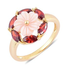 Pink Shell and Simulated Garnet Floral Ring in Yellow Gold Overlay Sterling Silver