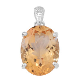 Very Rare Size AAA Uruguay Citrine (Oval 20 x15mm) Pendant in Rhodium Plated Sterling Silver 16.000 Ct.