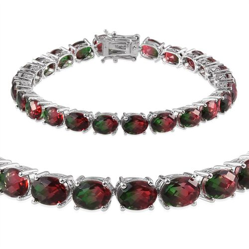 Tourmaline Colour Quartz (Ovl) Bracelet (Size 8) in Platinum Overlay Sterling Silver 31.000 Ct.
