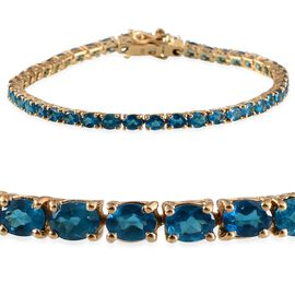 Malgache Neon Apatite (Ovl) Bracelet (Size 7.5) Yellow Gold Overlay Sterling Silver 6.750 Ct.