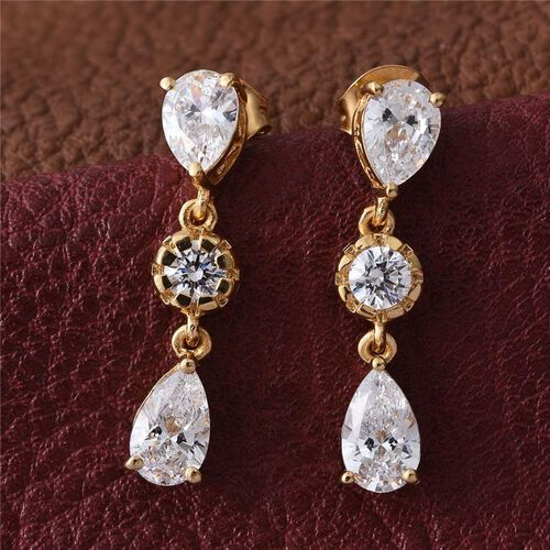 J Francis - 14K Gold Overlay Sterling Silver (Pear) Earrings Made with SWAROVSKI ZIRCONIA