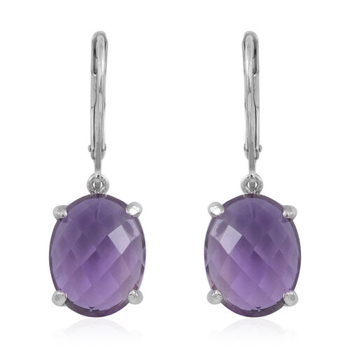 Rose De France Amethyst (Ovl) Lever Back Earrings in Rhodium Plated Sterling Silver 10.000 Ct.