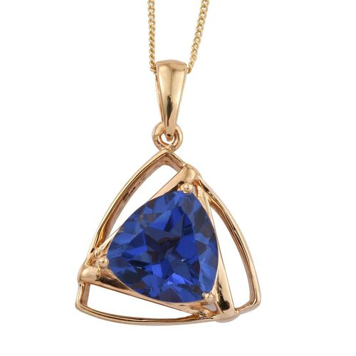 Ceylon Colour Quartz (Trl) Solitaire Pendant With Chain in 14K Gold Overlay Sterling Silver 5.500 Ct.