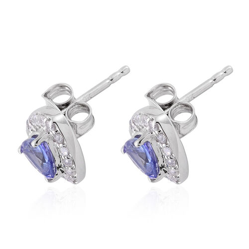 9K W Gold AA Tanzanite (Trl), Natural Cambodian Zircon Stud Earrings (with Push Back) 1.135 Ct.