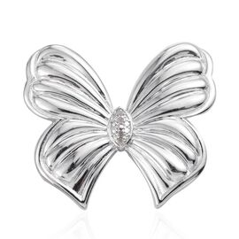 Diamond (Rnd) Butterfly Brooch in ION Plated Platinum Bond
