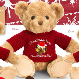 Keel - 25cm Traditional Bear with Christmas Pudding Jumper