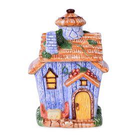 Blue Colour Ceramic House Cookies Jar (Size 21x14x12.5 Cm)