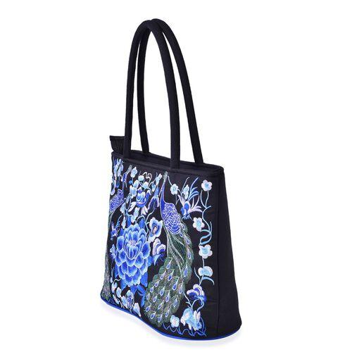 Shanghai Collection Blue Colour Peacock and Floral Pattern Black Colour Tote Bag (Size 33.5x28x13 Cm)