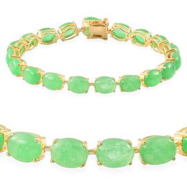 Green Jade (Ovl) Bracelet (Size 7) in Yellow Gold Overlay Sterling Silver 34.500 Ct.