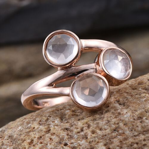 Rose Quartz (Rnd) Trilogy Ring in Rose Gold Overlay Sterling Silver 2.250 Ct.