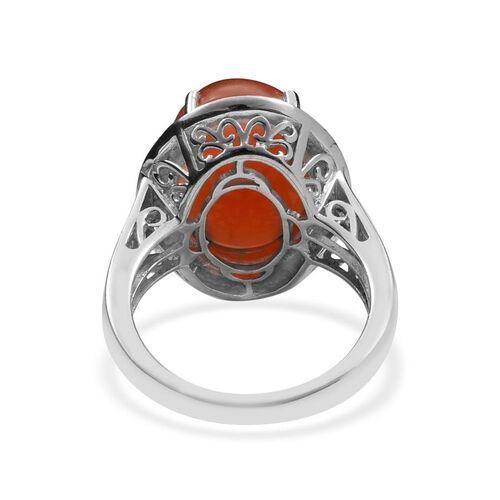 Mitiyagoda Peach Moonstone (Ovl 11.50 Ct), Diamond Ring in Platinum Overlay Sterling Silver 11.550 Ct.