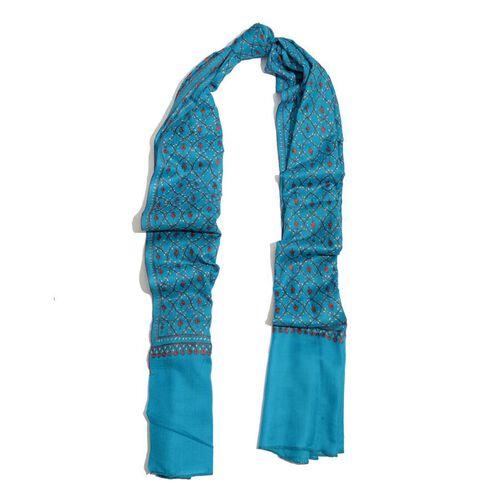 Hand Embroidered Floral Pattern Kashmiri Turquoise Woollen Shawl (Size 200x70 Cm) - 100% Merino Wool