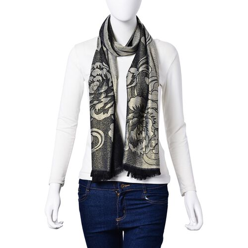 Subshrubby Peony Floral Pattern Black Colour Scarf (Size 180x70 Cm)