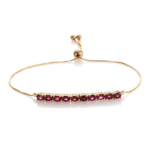 African Ruby 2.50 ct. Silver Adjustable Bracelet in Gold Overlay (Size 6.5 to 8)