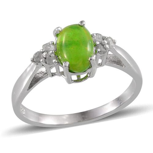 Green Ethiopian Opal (Ovl 0.90 Ct), Diamond Ring in Platinum Overlay Sterling Silver 1.000 Ct.