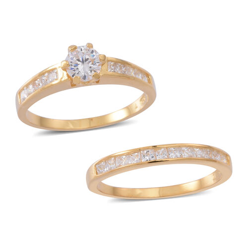 ELANZA AAA Simulated White Diamond (Rnd) 2 Ring Set in 14K Gold Overlay Sterling Silver