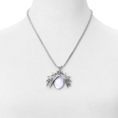 Set of 3- Organic White Shell and AAA Austrian Crystal Ladybird Pendant With Chain (Size 20 with 2 inch Extender), Bracelet (Size 7.50) and Hook Earrings 75.120 Ct.